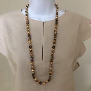 MOP smoky quartz gold-tone bead necklace